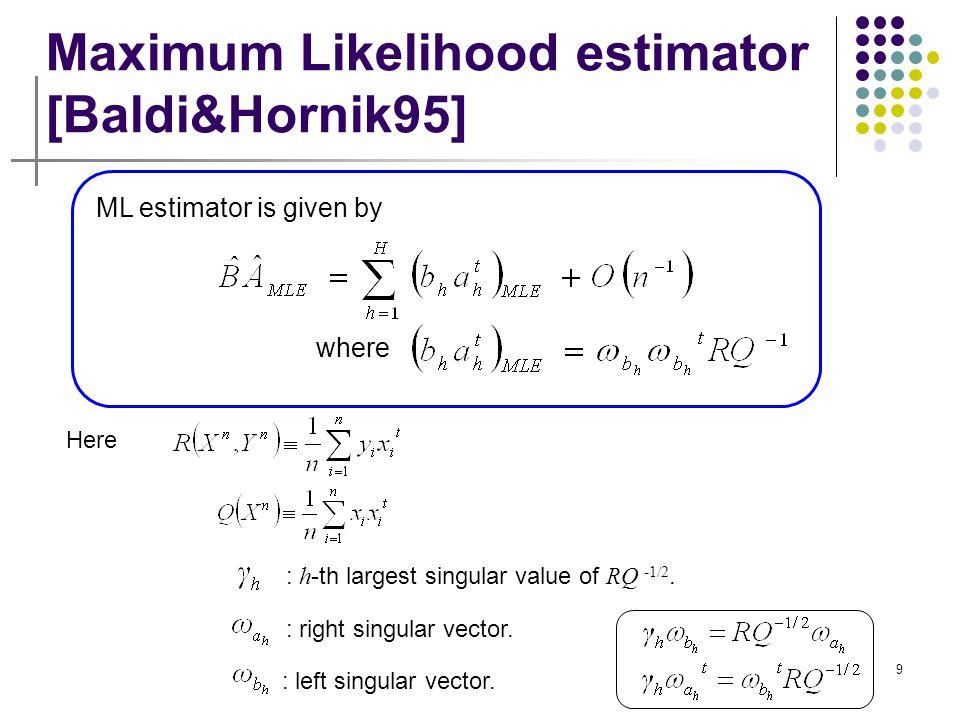 Maximum Likelihood estimator [Baldi&Hornik95]